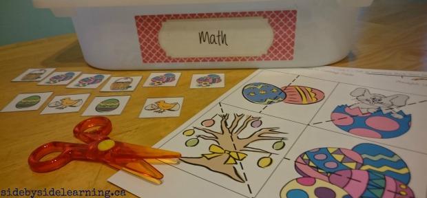 Math Patterns Tot School Easter Scissors
