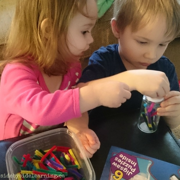 Pipe Cleaners and Spice Jar Fine Motor