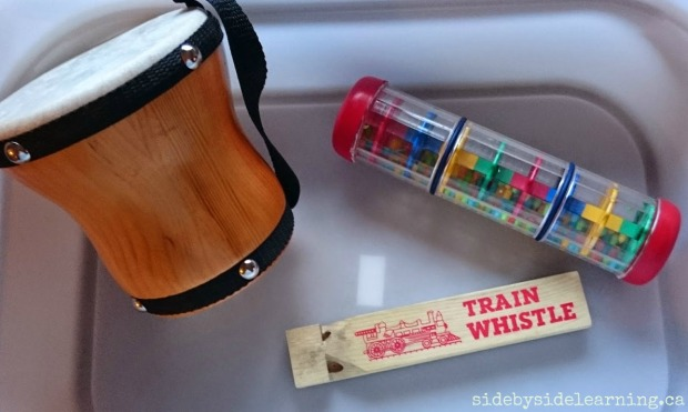 Bongo Drum, Shaker, Train Whistle