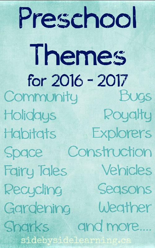 Preschool Themes 2016 - 2017